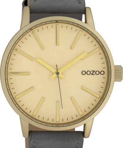 OOZOO Timepieces XL Grey Leather Strap