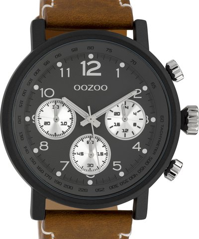 OOZOO Timepieces XXL Brown Leather Strap