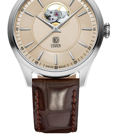 COVER Aragon Open Heart Automatic Brown Leather Strap